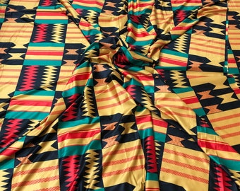 Kente 4 way Stretch Jersey African fabric per yard african lycra Print for swimsuit/ Lycra african ethnic Print/ stretch fabric/yard