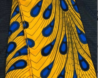 A659 6 yard african fabric Royal blue Orange rain tear drop peacock / ethnic print/ quilting/ Sewing fabric/ Material: African print