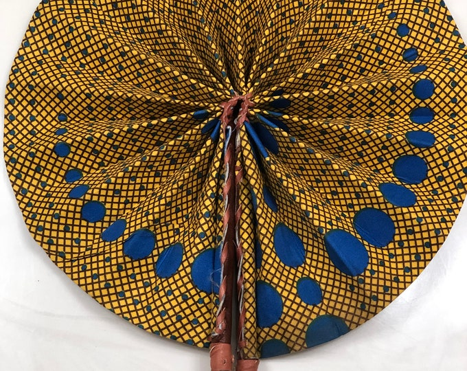 Blue yellow Ankara african wedding favor ethnic print fabric round windmill style handmade hand fan with leather trim folding