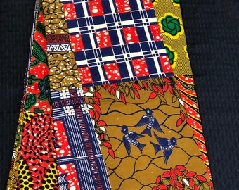 African fabric per yard Orange Red yellow blue patchwork Multicolor ankara Wax ethnic fabric/ traditional fabric/ African Material/ cloth/