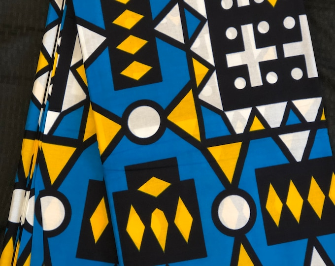 YB13  african fabric per yard Yellow Blue white mud cloth Design kitenge African Fabric/ African Wax print