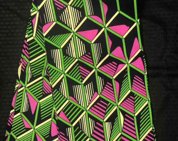 PG64 6 yard geometric print  Pink/ Green African Fabric/ African Wax print/ Ankara/ African Cloth/ Material/ Ghana/ Nigeria Fabric