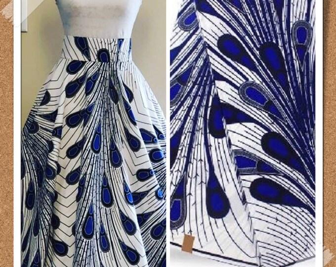 A6107 Blue and white peacock/ rain bulb ethnic print/ Doll cloth/ african fabric/ african clothing/ women dress/ African ankara fabric