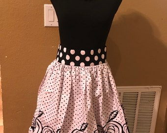 Medium Black white polka dot knee length african fabric skirt / ethnic skirt / dashiki skirt / women wear/Ankara/African wax print skirt