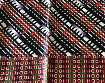 SK7 5 yards Silk white purple red orange geometric   ethnic print/ home decor print/ African ankara Wax print