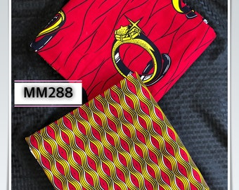 MM288 3 yards each Mix and Match red yellow gold ring African Fabric/ ankara/ african Wax Print/ ethnic print/ African Material/ Doll Cloth