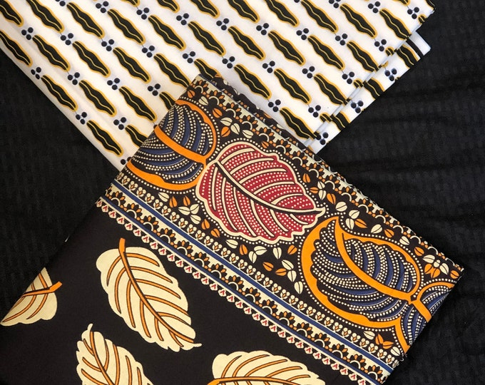 MM365 3 yards each pairing mixed prints  Brown beige pink leaf lip Mix and Match African Fabric/ Wax print/ Material