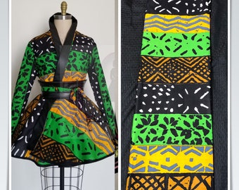 Per yard mudcloth kuba print Green black yellow  African Wax print/ African Fabric/ Ankara/ ghana Cloth/ Material