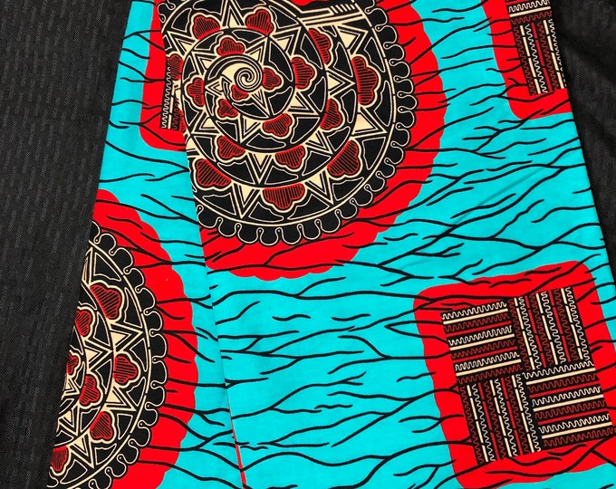 TR1 african fabric yard green blue  teal red Snail Bible / African Wax print/ Ankara for Sewing Dress/ art craft/ African home decor/ Quilt
