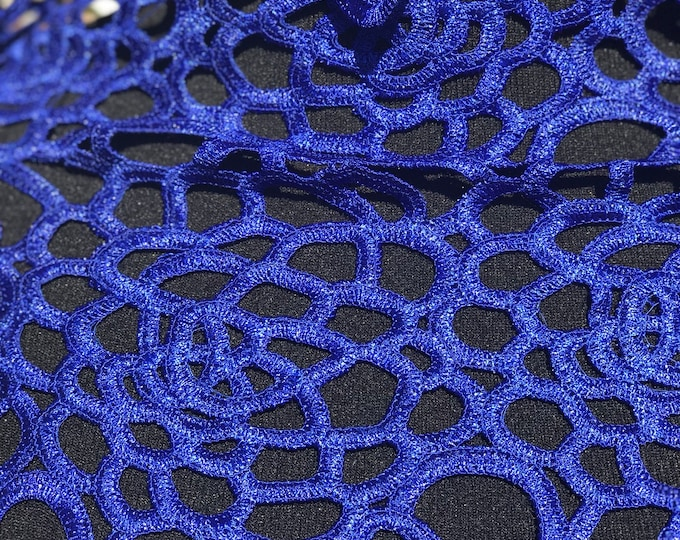 Gorgeous Electric Blue African Cord Lace 5 yards