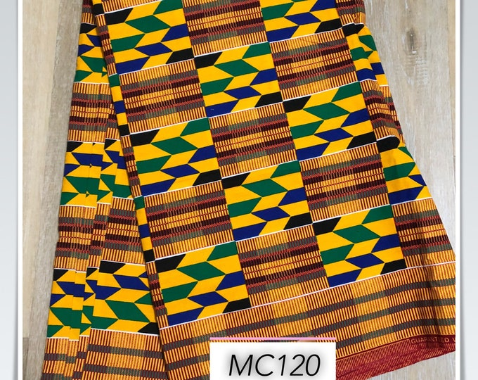 MC120 african fabric kente per yard yellow/ red/ Blue kente Fabric/ kente Wax print/ kente cloth/ Material