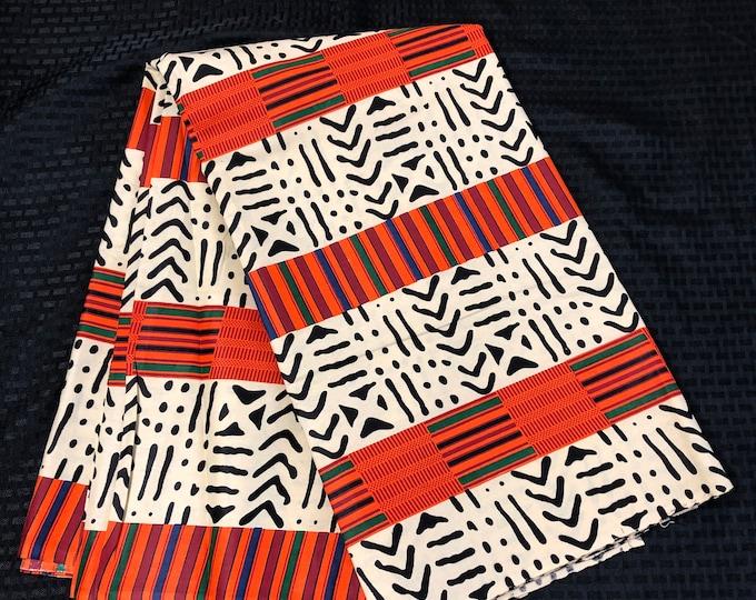 Kuba Per yard off white/beige , brown/orange green kuba / mudcloth print African Fabric/ Ankara/ African Wax print/ Material/ cloth/ ntoma