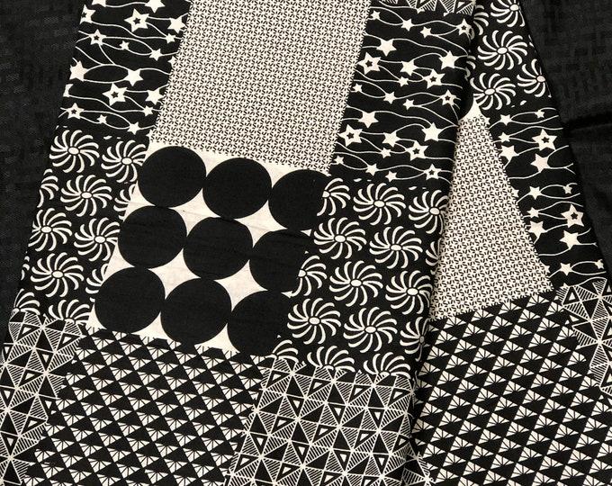 African Fabric per yard black / white Polka dot patchwork Design African Wax print/ Ankara for Sew Dress/ African Art/ cloth dolls