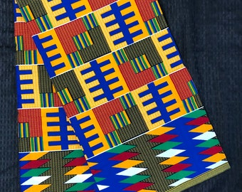 k122 african kente fabric Per yard yellow/ red/ Blue green kente african Fabric/ kente Wax print/ kente cloth/ Material/head wrap
