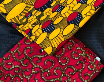 MM448 table Mix Match african fabric pair Red/ orange Yellow African Fabric/ ankara/ african Wax Print/ ethnic print/ African Material