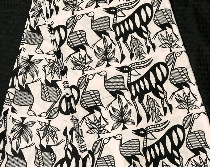 African fabric per yard black white antelope gazelle zoo african print/ African clothing/ African home decor/ ethnic print/ African material