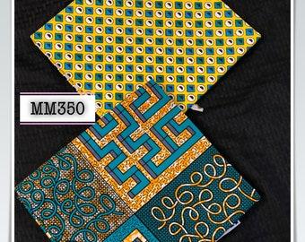 MM350 3 yds each Green/yellow fabric pair Mix aNd Match African Wax/ African Fabric/ankara/ Material/ decor pillows/ african cloth dolls
