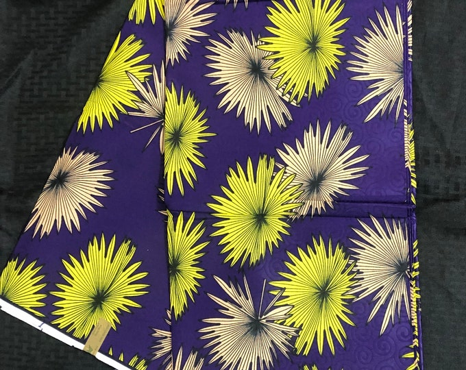 6 yard Purple lime Green beige floral Design Doll Cloth/ african