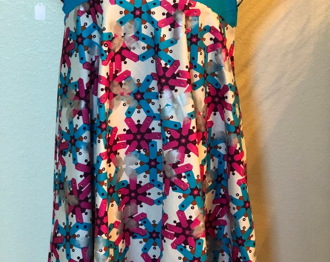 Gorgeous Size 10 blue and pink flare cut/ A line  African Fabric women's   Dress