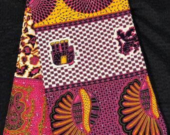 A1306 african fabric per yard  pink beige patchwork leaf elephant / African Wax print/ Ankara for Sew Dress/ shirt/ african pillow