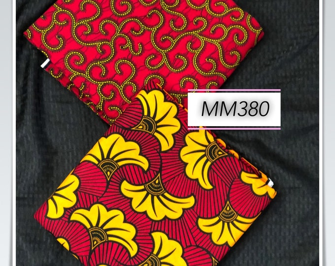 MM380 3 yards each design Mix Match african fabric pair Red/ Yellow / ankara/ african Wax Print/ ethnic print/ African Material/ Doll Cloth