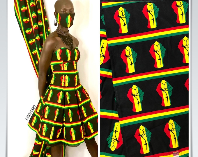 BP6 6 yards yellow red black power kitenge african print/ African clothing/ African home decor/ ethnic print/ material