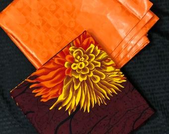 AB1 Orange brown ankara Bazin Mix African Wax/ African Fabric/ankara/ Material/ decor pillows/ african cloth dolls