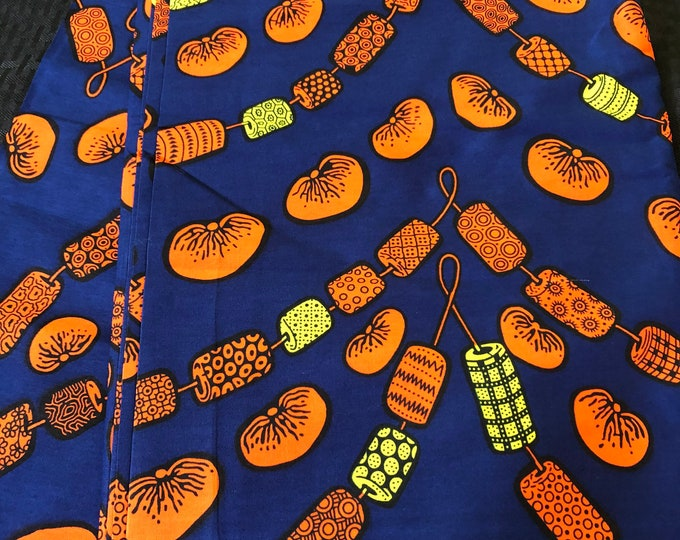 BO62 6 yards Blue/orange bead string african Fabric/ african Wax print/ Ankara/ Material/ cloth/ wrapper