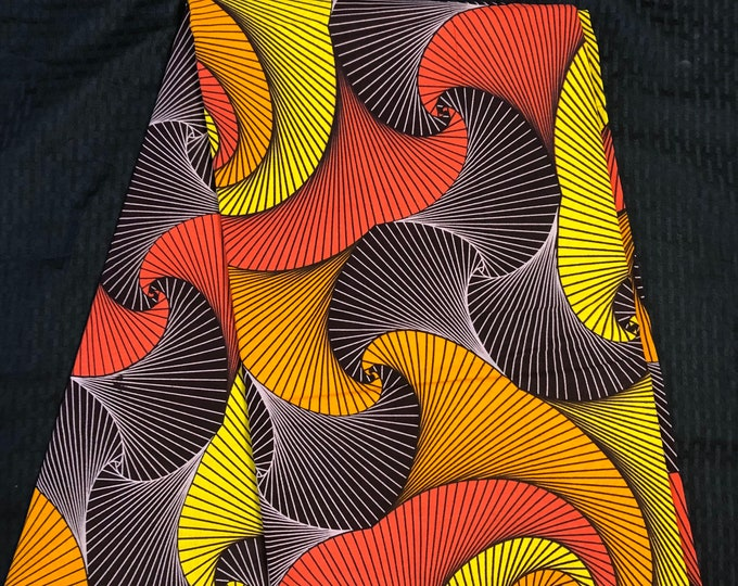 MC1 African fabric per yard orange brown yellow/ red multicolor swirl Wax print/ kente cloth/ Material/head wrap