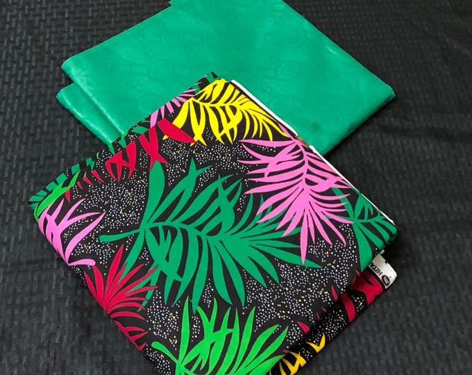 AB17 green pink red yellow Ankara Bazin mix  African Fabric/ ankara/ african print/ Material/ ethnic print/Doll cloth