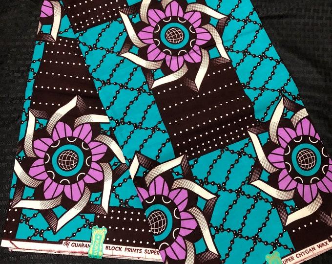 Per yard blue pinkish purple /white floral Doll Cloth Ethnic Print/african fabric/ african home decor/ African Wax print/ Ankara