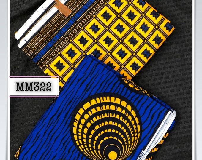 MM322  3 yds each royal blue yellow eye mix aNd Match African Wax/ African Fabric/ankara/ Material/ decor pillows/ african cloth dolls