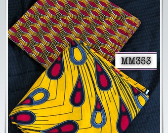 MM353 3 yards each design Mix Match african fabric pair Red/ Yellow / ankara/ african Wax Print/ ethnic print/ African Material/ Doll Cloth