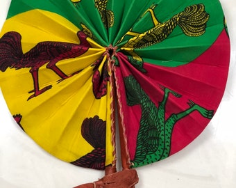 Green red yellow Kente Ankara african wedding favor ethnic print fabric round windmill style handmade hand fan with leather trim folding