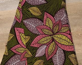 MC111 African fabric per yard multicolor pink green red yellow white brown floral  Design / ankara/ african Material/ Cloth/ wrapper