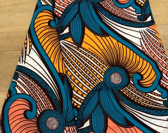 MC114 per yard yellow/ orange Blue peach african Fabric/ kente Wax print/ kente cloth/ Material/head wrap/ethnic tribal print