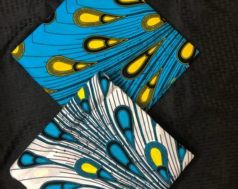 MM92 3 yards each  Blue white yellow rain Mix  Match Combo African Fabric/ African Wax Print/ ethnic Fabric/ African Material/ cloth/ sewin