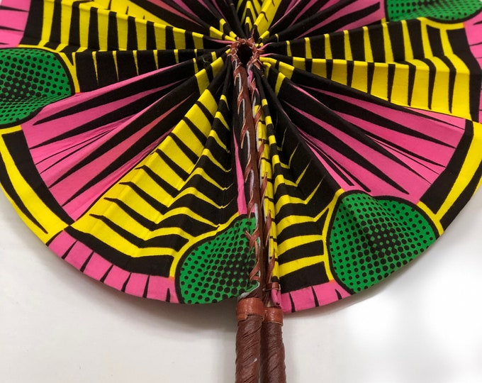 Green pink yellow  Ankara african wedding favor ethnic print fabric round windmill style handmade hand fan with leather trim folding