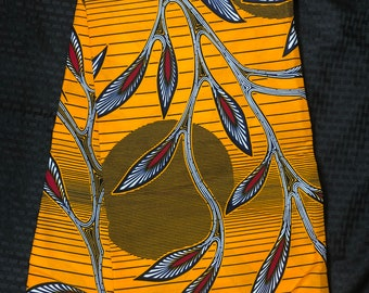 OR61 6 yard red orange sun moon leaf African fabric/ African clothing/ African home decor/ ethnic print/ African material