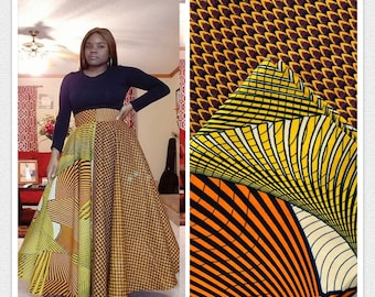 MM115 3 yards each Vlisco pairing mixed prints honeycomb Brown yellow Mix and Match African Fabric/ Wax print/ Material