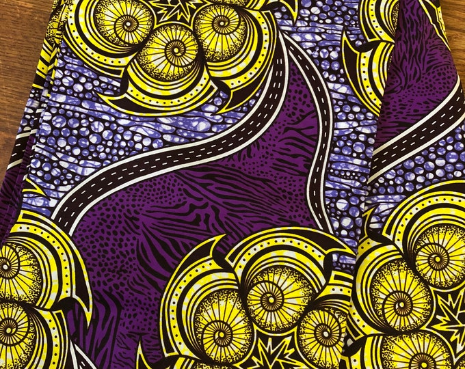 PUG15 Per yard yellow /gold lilac purple ankara Wax fabric/ethnic fabric/ traditional fabric/ African Material/ cloth/ dashiki
