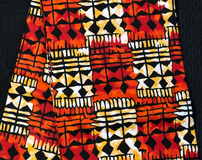 OYB11 african  fabric per yard Yellow orange / black mud cloth African Wax print/ Ankara for Dress/ African cloth dolls/ African decor