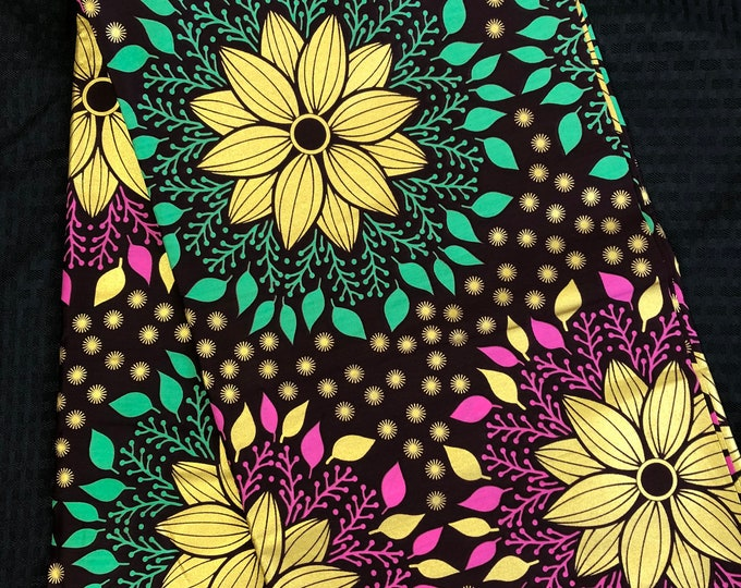 GP6 6 yard floral metallic gold Pink/ teal Green African Fabric/ African Wax print/ Ankara/ African Cloth/ Material/ Ghana/ Nigeria Fabric