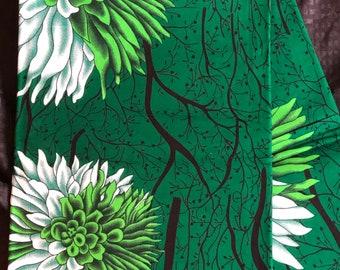 African fabric per yard White Kelly green Nigeria green floral bloom Design Ankara/ African Wax print/ Material/ cloth/ ntoma