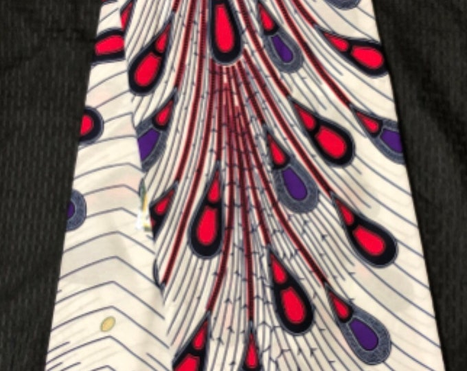 WPP6 6 yard white / purple/ hot Pink Rain drop tear drop peacock african Fabric/ kente Wax print/ kente cloth/ Material/head wrap