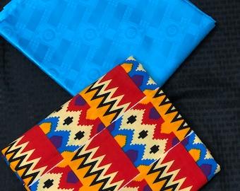 AB7 Ankara/ Bazin blue white Orange Mix Match African Wax/ African Fabric/ankara/ Material/ decor pillows/ african cloth dolls