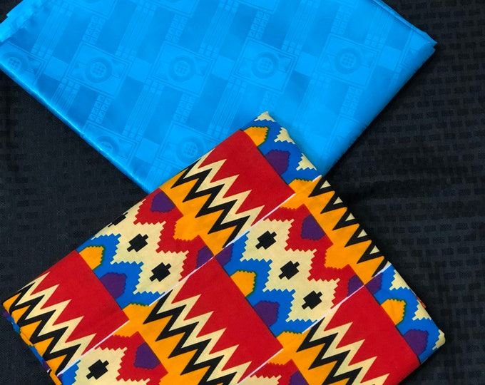 AB7 Ankara/ Bazin blue white Orange Mix Match African Wax/ African Fabric/ankara/ Material/ decor pillows/ african cloth dolls