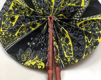 Black yellow  Ankara african wedding favor ethnic print fabric round windmill style handmade hand fan with leather trim folding