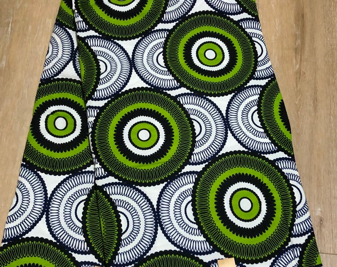 MC106  African fabric per yard  green white circle bullseye mud cloth Design / ankara/ african Material/ Cloth/ wrapper/Head tie