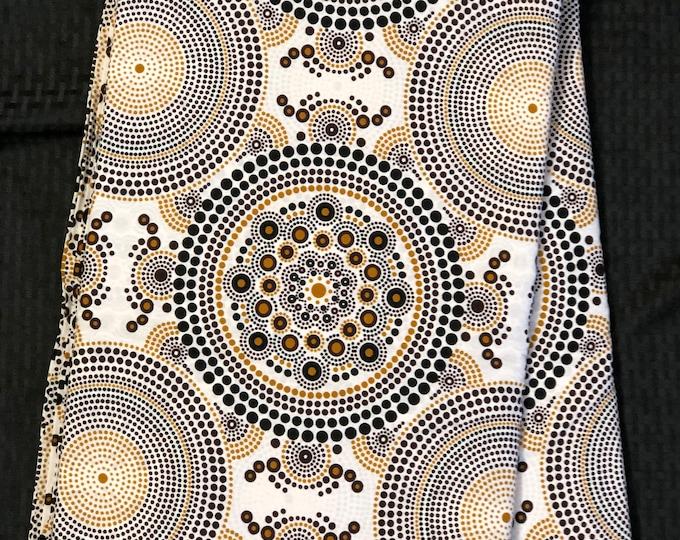 BRW14 African fabric per yard White/ brown/ white/ circle Kitenge African Wax print/ Ankara for Sew Dress/ African Art